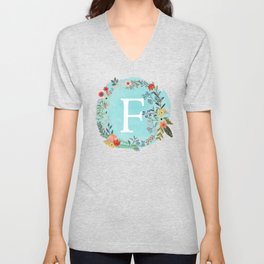 Personalized Monogram Initial Letter F Blue Watercolor Flower Wreath Artwork Unisex V-Neck