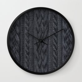 Charcoal Cable Knit Wall Clock