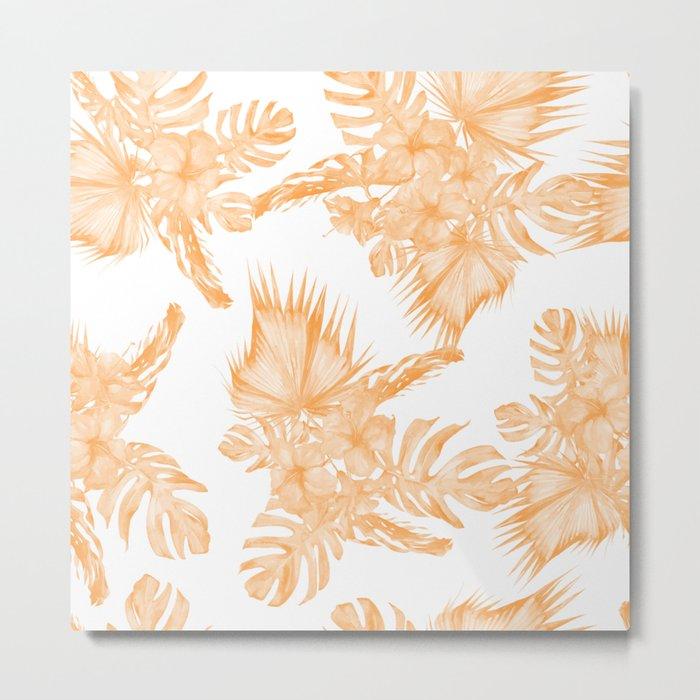 Island Vacation Hibiscus Palm Coral Orange Metal Print