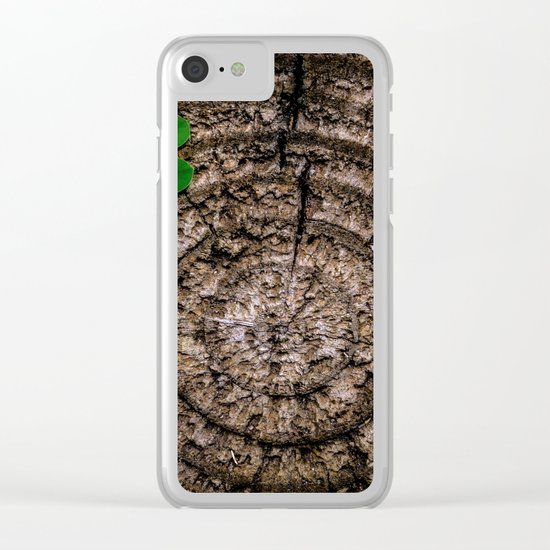 Green leaf Brown wood Clear iPhone Case