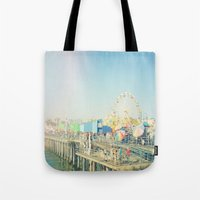 santa monica Tote Bags featuring Santa Monica by SoCal Chic Photography