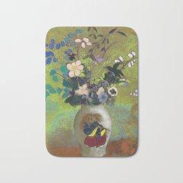 Odilon Redon - Flowers In Japanese Vase Bath Mat