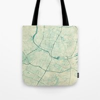 austin Tote Bags featuring Austin Map Blue Vintage by City Art Posters