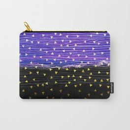 Gold Triangles on Violet and Black Carry-All Pouch