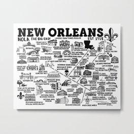 New Orleans Map  Metal Print