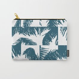 Palm Leaf Pattern Blue Carry-All Pouch