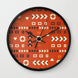 American native shapes in red Wall Clock