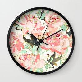 Floral Cranes Wall Clock