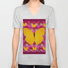 GOLDEN BUTTERFLIES ON FUCHSIA PINK Unisex V-Neck