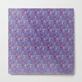 Purple sea creatures pattern Metal Print