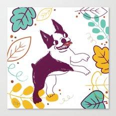 Happy Fall, Dogs! (Boston) Canvas Print