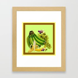 YELLOW-GREEN BANANAS GREEN GRAPES ART DESIGN Framed Art Print