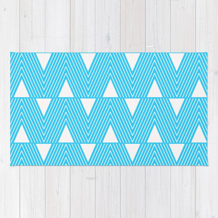 Triangles- Teal Triangle Pattern for hot summer days - Mix & Match Rug