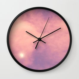 Purple Sky with Pink Clouds and Moon Wall Clock