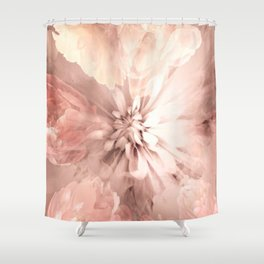 Floral Coral Abstract Flower Design Shower Curtain