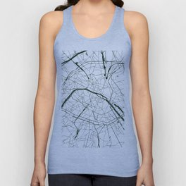 Paris France Minimal Street Map - Forest Green and White Unisex Tank Top