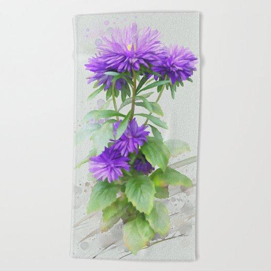 Purple Flowers, watercolors Beach Towel