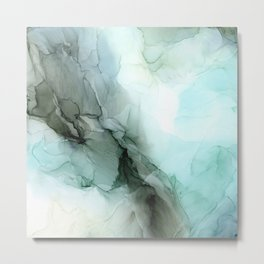 Calm Nature Inspired Abstract Flow Landscape Painting Metal Print