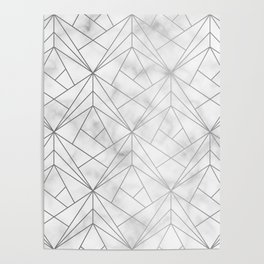 Geometric Silver Pattern on Marble Texture Poster