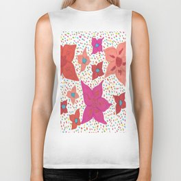 Pink and Orange Floral and Polka Dots Biker Tank