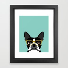 Darby - Boston Terrier pet design with hipster glasses in bold and modern colors for pet lovers Framed Art Print