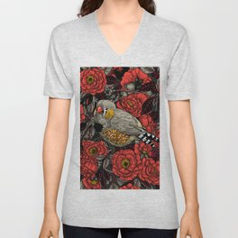 Zebra finch and red rose bush  Unisex V-Neck