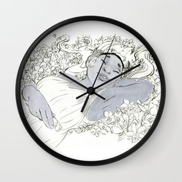 Persephone in Violets Wall Clock