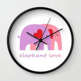 Purple and Pink Elephant Love Wall Clock