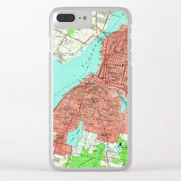 Vintage Map of Fall River Massachusetts (1949) Clear iPhone Case