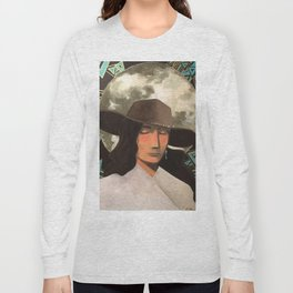 Portrait of A Southwestern Traveler with The Moon & Geometric Shapes In The Background Long Sleeve T-shirt