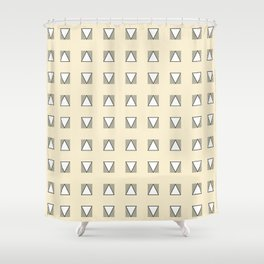 Audrey and Frank - Modern Envelopes Grid (Neutral) Shower Curtain