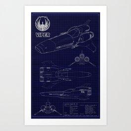 Colonial Viper MkII Blueprint Art Print