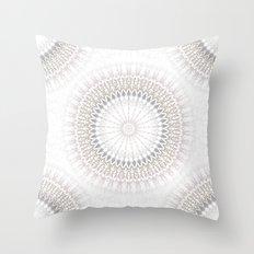 Pastel Gray Mandala 2 Throw Pillow