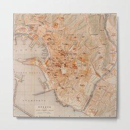 Vintage Map of Genoa Italy (1906) Metal Print