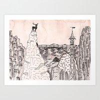 budapest hotel Art Prints featuring grand budapest hotel by Greta Jur