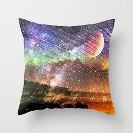Northern lights moon landscape Throw Pillow