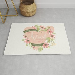 """""""All Your Heart"""" Floral Bible Verse Print Rug"""