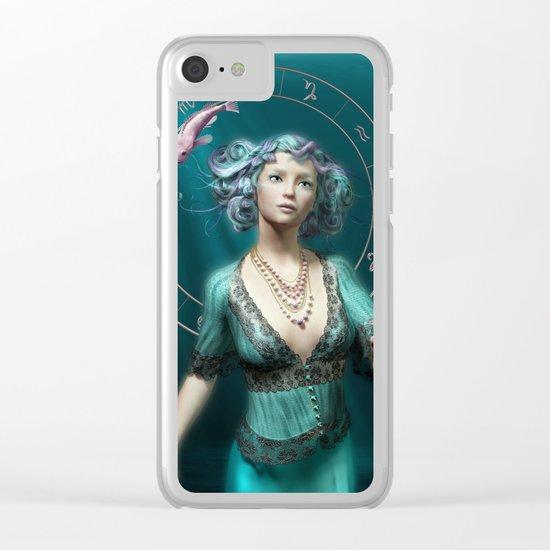 Pisces zodiac fantasy circle Clear iPhone Case