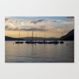 Sunset Annecy Boats Canvas Print