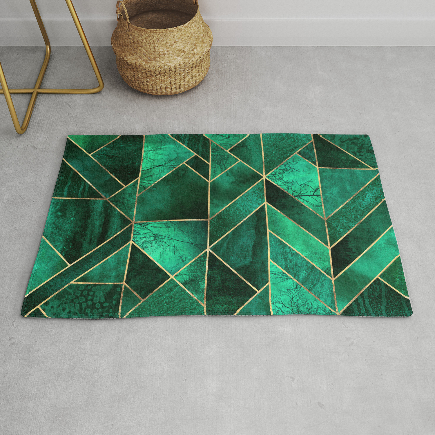 Abstract Nature Emerald Green Rug By