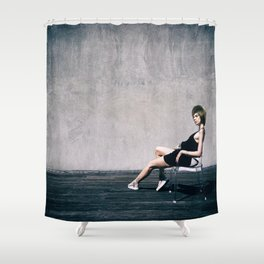 top model with hat Shower Curtain