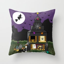 Spooky Cartoon Haunted Halloween House // Ghost, Skeleton, Witch, Bats, Cauldron, Spiders, Cobwebs  Throw Pillow