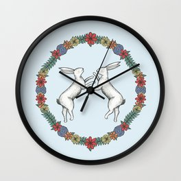 Fighting Hares Wall Clock