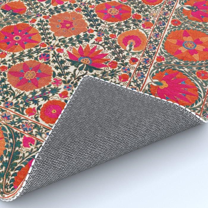 Kermina Suzani Uzbekistan Colorful Embroidery Print Rug