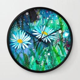 Watercolor Daisies - Circle Wall Clock