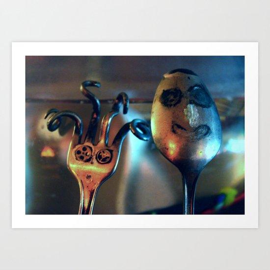Mrs. Fork & Mr. Spoon Art Print
