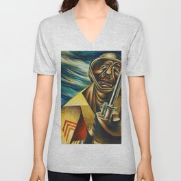 African-American 1944 Classical Masterpiece 'Black Soldier' by Charles White Unisex V-Neck