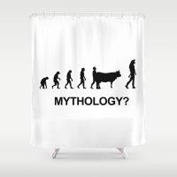 mythology Shower Curtains featuring Minotaur mythology by Komrod