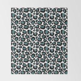 Teal Leopard Animal Print Pattern Throw Blanket