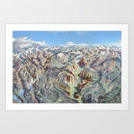 Sky Panorama Map of Yosemite National Park Art Print